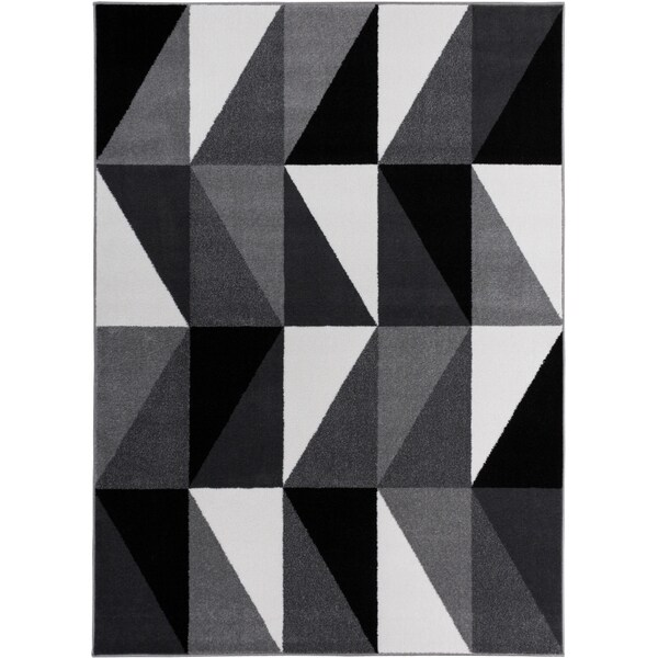 Well Woven Mano Shades of Grey Art Deco Grey Polypropylene Rug (3'3 x 4'7)