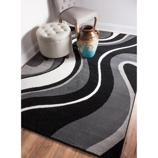 Modern Black/ Grey Waves Area Rug (7'10 x 9'10)