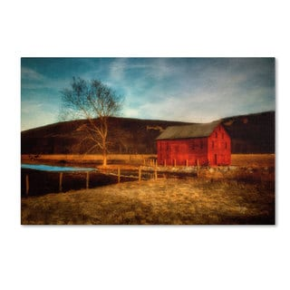 Lois Bryan 'Red Barn at Twilight' Canvas Art