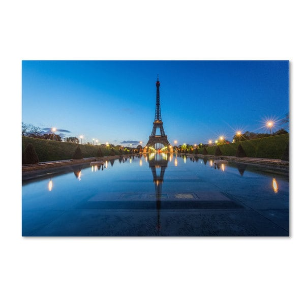 Mathieu Rivrin 'Blue Hour in Front of the Eiffel Tower' Canvas Art