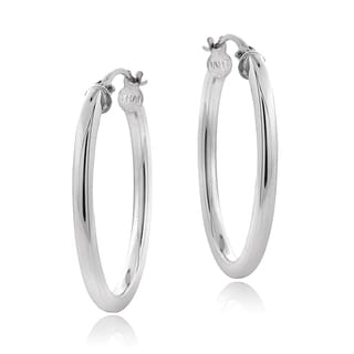 Mondevio Sterling Silver High Polish 25 mm Square Oval Hoop Earrings (2mm)