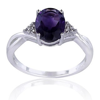 Glitzy Rocks Sterling Silver African Amethyst and Topaz Solitaire Ring