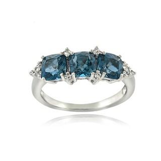 Glitzy Rocks Sterling Silver London Blue and White Topaz Cushion-cut 3-stone Ring