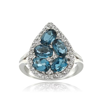Glitzy Rocks Sterling Silver London Blue and White Topaz Teardrop Cluster Ring
