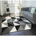 Well-woven Mano Shades of Grey Art Deco Grey, White, and Black Geometric Angles Polypropylene Rug (7'10 x 9'10)