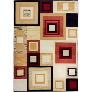 Well Woven Malibu Squares and Boxes Red Multi Polypropylene Rug (8'2'' x 9'10)