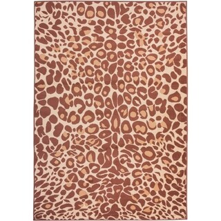 Well Woven Malibu Leopard Brown Polypropylene Rug (4'5 x 6'5)