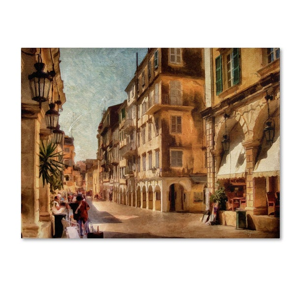 Lois Bryan 'Old Corfu Town-Waiting for the Tourists' Canvas Art