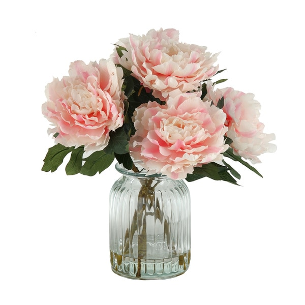 Silk Pink Peonies in Ribbed Glass Vase