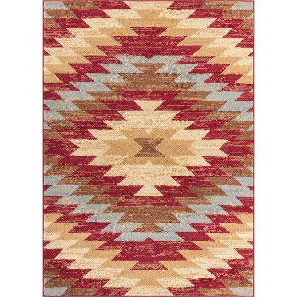 "Well Woven Malibu Southwestern Kilim Red Multi Polypropylene Rug (8'2"" x 9'10)"