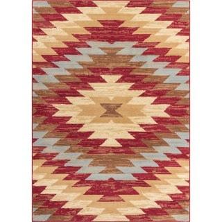 Well Woven Malibu Southwestern Kilim Multi Geometric Red, Blue, Ivory, and Beige Area Rug (5' x 7')