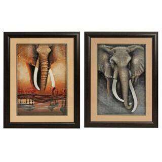 'African Elephant' Framed Metal Art (Set of 2)