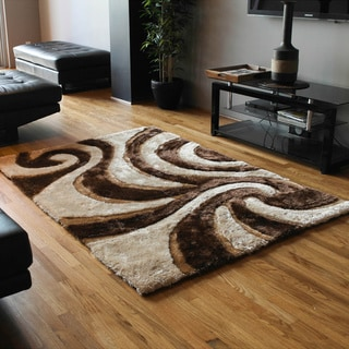 Blazing Needles 5-foot by 7-foot Elegant Swirls Shag Rug