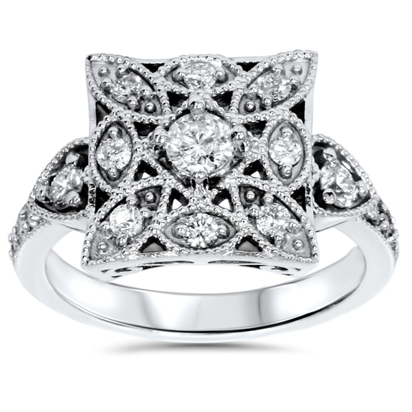 10k White Gold 1/ 2ct TDW Diamond Vintage Square Ring 14775971