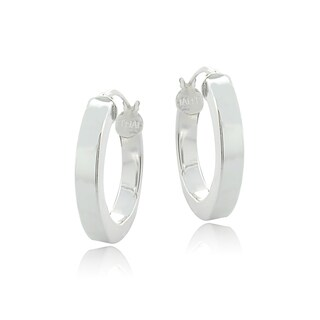 Mondevio Sterling Silver High Polish 15 mm Square Tube Hoop Earrings