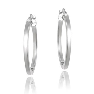 Mondevio Sterling Silver High Polish 30 mm Square Tube Hoop Earrings