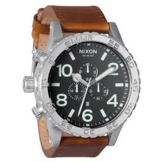 Nixon Men's A1241037-00 Brown Leather 51-30 Chronograph Black Dial Watch