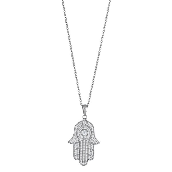 Sterling Silver Micropave CZ Hamsa Pendant with Chain Option