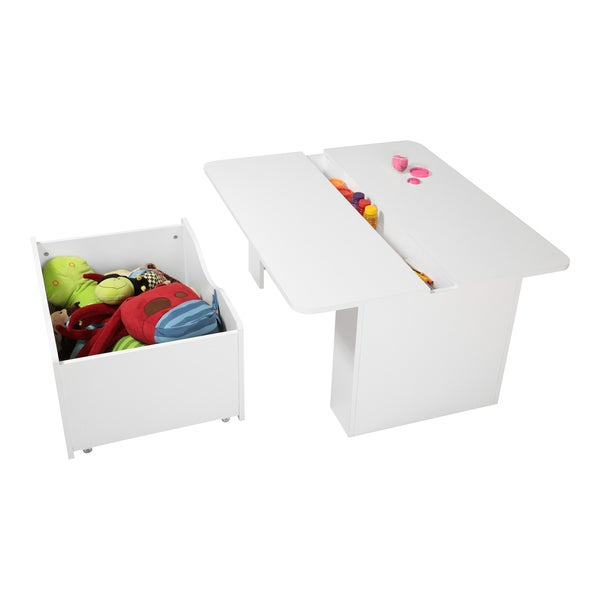 South Shore Storit Kids Activity Table with Toy Box on Wheels 14776226
