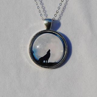 Atkinson Creations Sterling Silver Lone Wolf Glass Dome Pendant