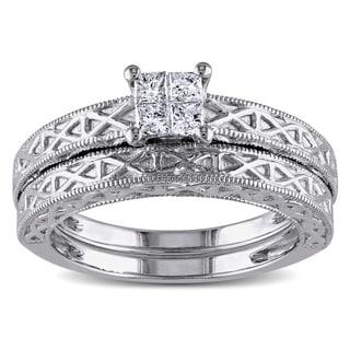 Miadora 10k White Gold 1/4ct TDW Diamond Bridal Ring Set (G-H, I1-I2)