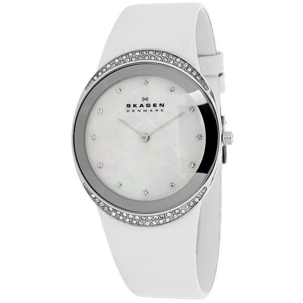 Skagen Women's 452LSLW Classic Round White Strap Watch