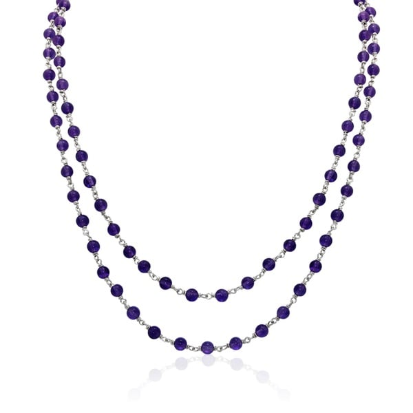 Gioelli Sterling Silver Amethyst Beaded 2-row Chain Necklace