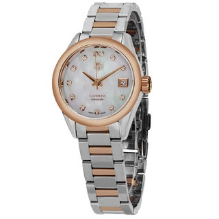 Tag Heuer Women's WAR2452.BD0772 'Carrera' Mother of Pearl Diamond Dial Two Tone Automatic Watch