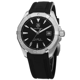 Tag Heuer Men's WAY2110.FT8021 '300 Aquaracr' Black Dial Black Rubber Strap Automatic Watch