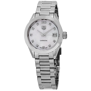 Tag Heuer Women's WAR2414.BA0770 'Carrera' Mother of Pearl Diamond Dial Stainless Steel Automatic Watch