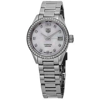 Tag Heuer Women's WAR2415.BA0770 'Carrera' Mother of Pearl Diamond Dial Stainless Steel Diamond Automatic Watch