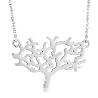 Sterling Silver Matte Finish Tree of Life Necklace
