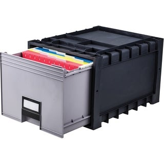 Plastic Archive Storage Box, Letter/ Legal, 18-Inch Depth, Black/Gray