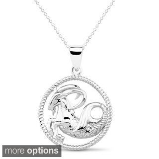 Sterling Silver Open Circle Capricorn Symbol Necklace