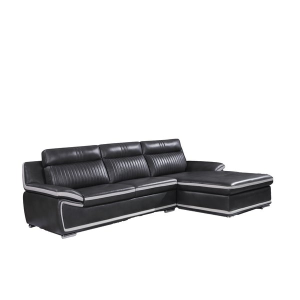 Natalie Light Grey/ Black 2-piece Sectional