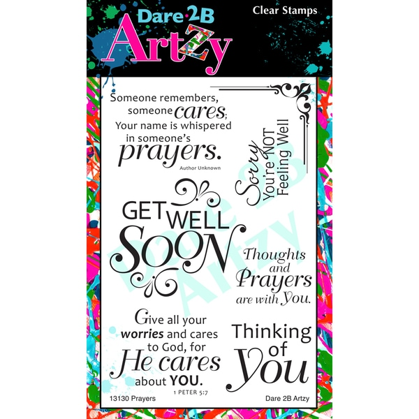 "Dare 2B Artzy Clear Stamps 4""X6"" Sheet-Prayers For You"