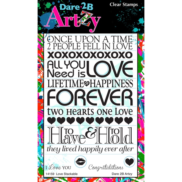 "Dare 2B Artzy Clear Stamps 4""X6"" Sheet-Love Stackable"