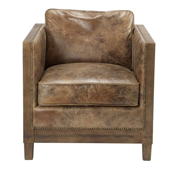 Aurelle Home Everton Light Brown Club Chair