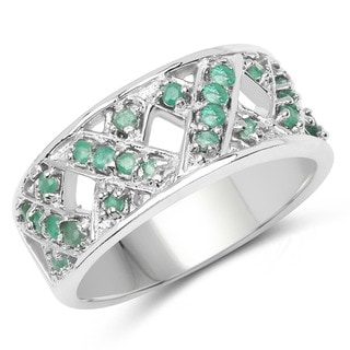 Sterling Silver 0.60ct. Genuine Emerald X-pattern Ring
