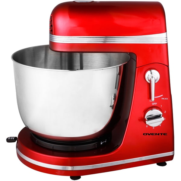 Ovente Professional Stand Mixer, Red