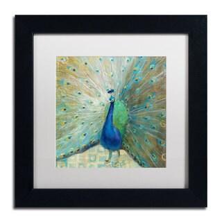 Danhui Nai 'Blue Peacock on Gold' Framed Matted Art