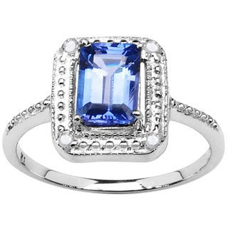 Sterling Silver 0.75ct. TCW Tanzanite and Diamond Accent Ring