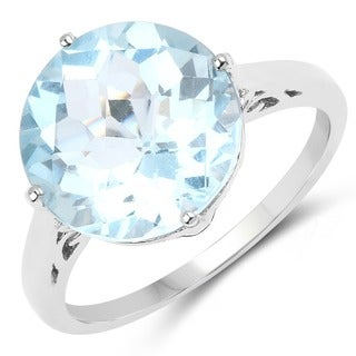 Sterling Silver 7.60ct. Blue Topaz Ring