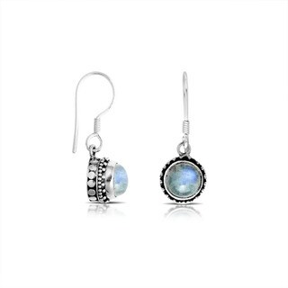 Handcrafted Sterling Silver Bali Rainbow Moonstone Dot Border Dangle Earrings (Indonesia)