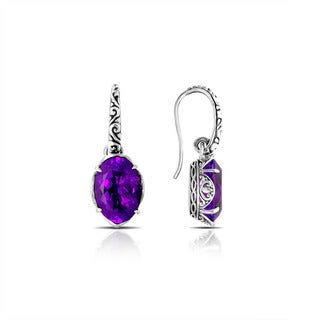 Handmade Bali Sterling Silver Oval Faceted Amethyst Drop Earrings (Indonesia)