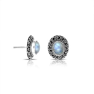 Handcrafted Sterling Silver Bali Rainbow Moonstone Antique Swirl Post Earrings (Indonesia)