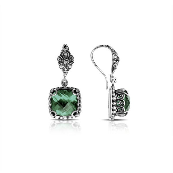 Handmade Bali Sterling Silver Square Faceted Green Amethyst Drop Earrings (Indonesia)