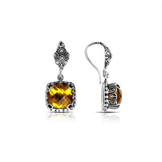 Handmade Bali Sterling Silver Square Faceted Citrine Drop Earrings (Indonesia)