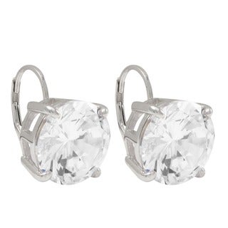Sterling Silver 12 mm White Round Cubic Zirconia Leverback Drop Earrings