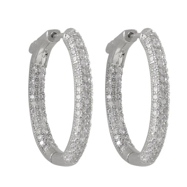 Sterling Silver Pave Cubic Zirconia Oval Hoop Earrings